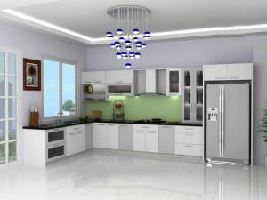Thiết kế tủ bếp nhôm kính hiện đại