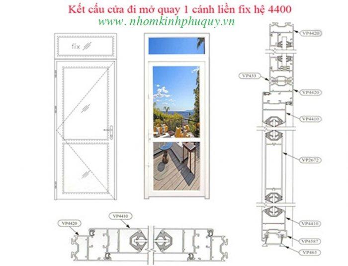 Công thức cắt cửa đi mở quay nhôm việt pháp hệ 4400 1