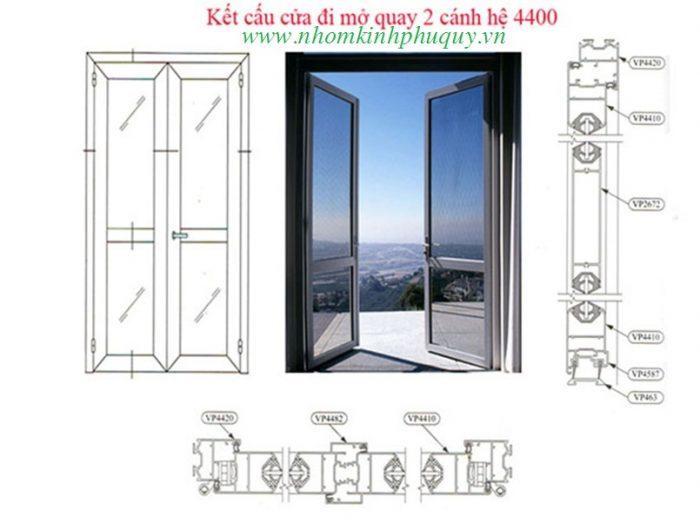 Công thức cắt cửa đi mở quay nhôm việt pháp hệ 4400 2