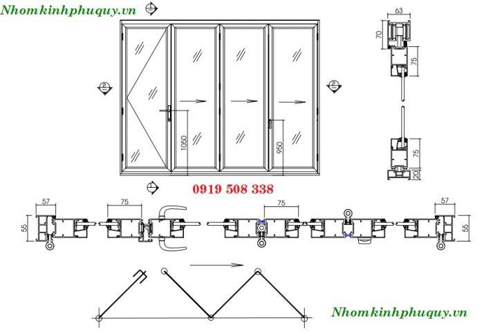 Mặt cắt của cửa nhôm Xingfa xếp trượt 2