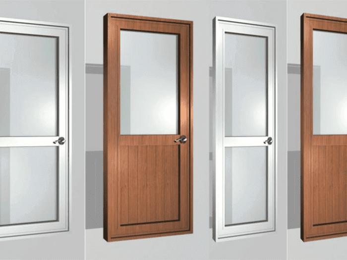 Các mẫu cửa nhôm kính 1 cánh cho phòng ngủ, nhôm sơn màu xám ghi, trắng sữa hoặc vân gỗ sang trọng