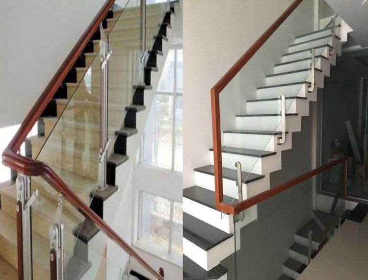Cầu thang kính cường lực dạng pad inox: 1