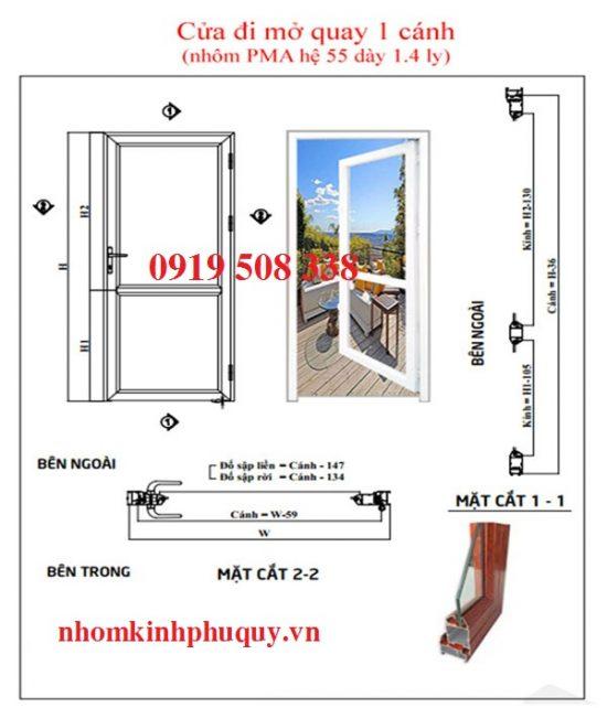 Công thức cắt nhôm đối với cửa đi mở quay 1 cánh liền kính 1