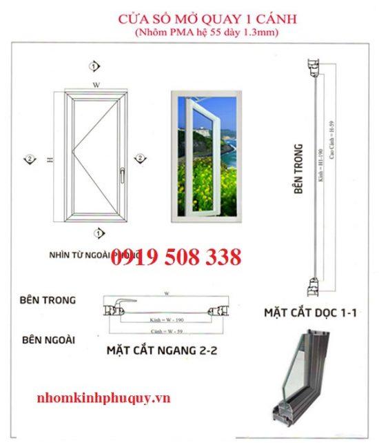 Công thức cắt nhôm đối với cửa sổ mở quay (mở hất) 1 cánh 1