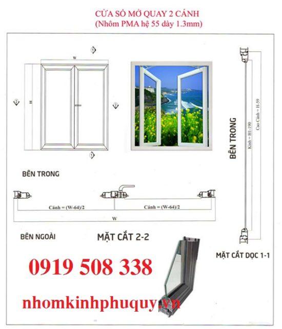Công thức cắt nhôm đối với cửa sổ mở quay(mở hất) 2 cánh 1