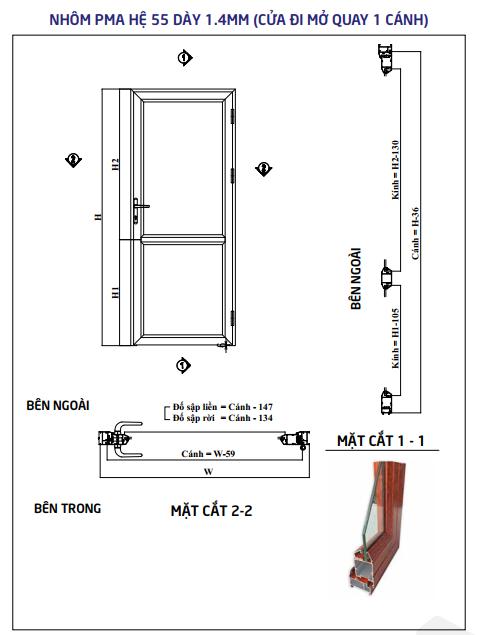Cửa Đi Nhôm PMA Hệ 55 1