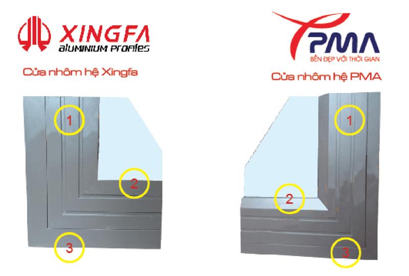 So sánh giữa cửa nhôm Xingfa và PMA cao cấp nhập khẩu 1