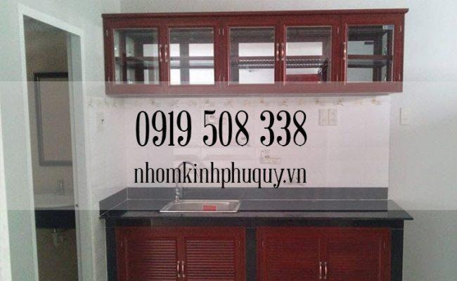 Tủ bếp nhôm kính sơn tĩnh điện chữ I 2