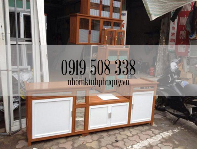 Lắp đặt tủ bếp nhôm kính vân gỗ tại Phú Quý 1