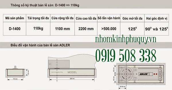 Bản lề sàn Adler D-1400 1