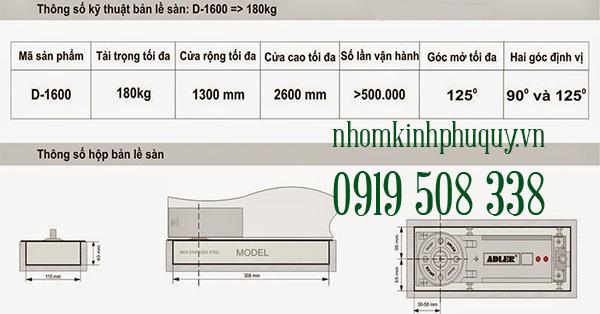Bản lề sàn Adler D-1600 1