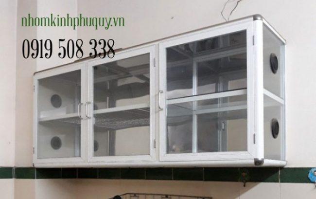 Chạn bát nhôm kính treo tường màu trắng sứ 2