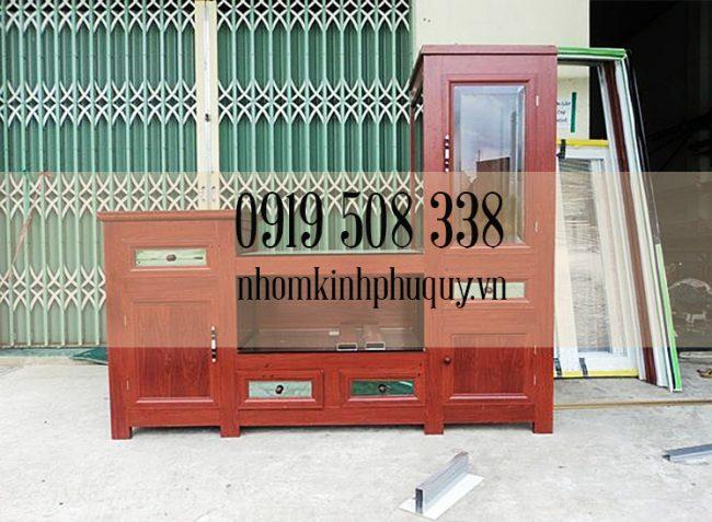 Tủ đựng tivi nhôm kính kết hợp trưng bày 1