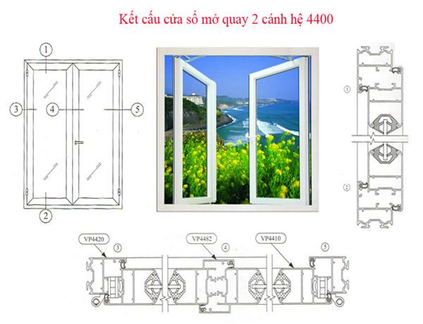 Cửa nhôm Việt Pháp hệ 4400 1