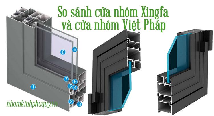 So sánh cửa nhôm Việt Pháp và Xingfa 1