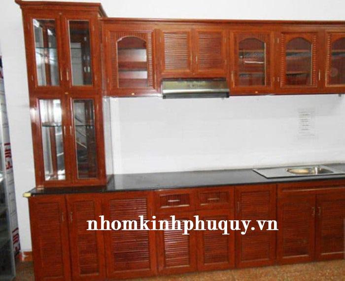 2. Tủ rượu nhôm kính kết hợp với tủ bếp 1