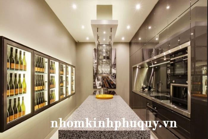1. Mẫu tủ rượu nhôm kính âm tường 1
