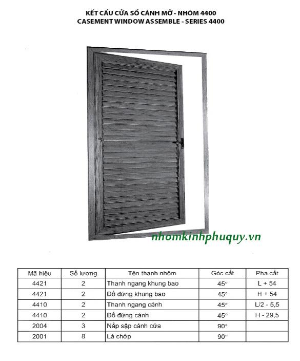 Catalog nhôm Việt Pháp Hệ 4400 7