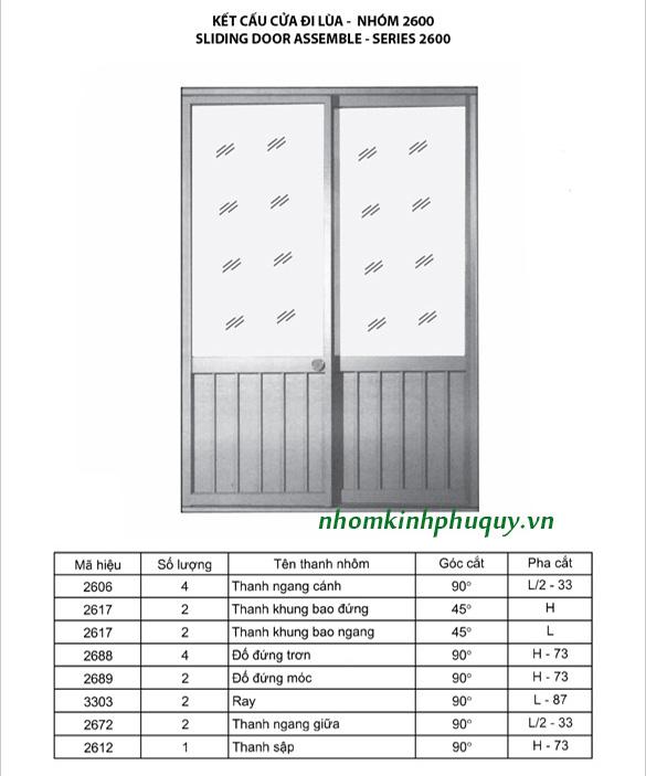 Catalog nhôm Việt Pháp Hệ 2600 5