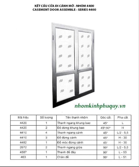 Catalog nhôm Việt Pháp Hệ 4400 1
