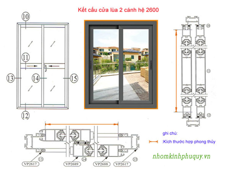 Cách để kích thước cửa nhôm việt pháp hệ 2600 áp dụng cho cửa mở lùa 1