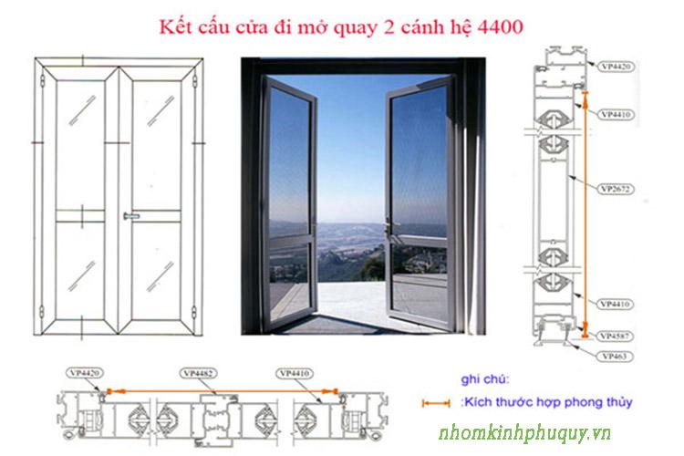 Cách tính kích thước cửa nhôm hệ 4400 áp dụng cho cửa đi mở quay 2 cánh 1