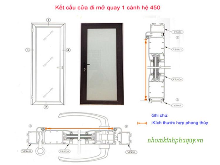 Cách tính kích thước cửa nhôm việt pháp hệ 450 (4500) áp dụng cho cửa đi mở quay 1