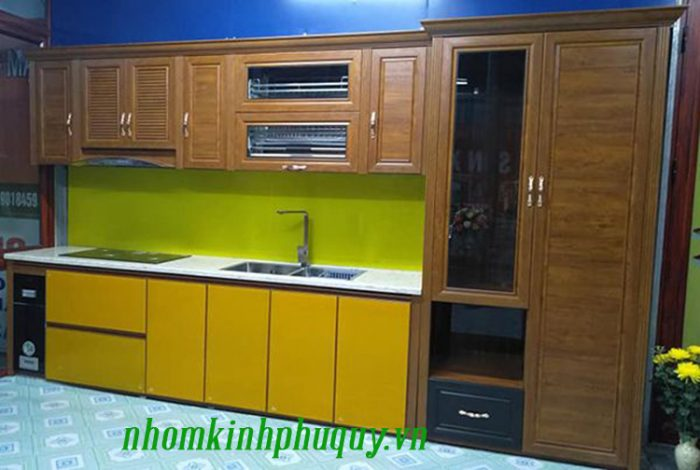 Mẫu tủ bếp nhôm Omega điển hình 3